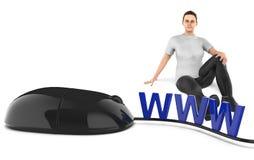3d karakter, vrouwenzitting naast wwwtekst en muis vector illustratie