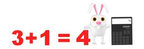 3d karakterkonijn die een calculator voorstellen en 3+1= 4 stock illustratie