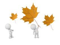 3D Karakters met Autumn Leaves Stock Afbeeldingen