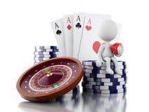 3d kardieren weiße Leute mit Kasinoroulettekessel, Chips, Poker a Stockfotografie