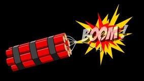 2D Karikaturanimation des Dynamitexplosionsbooms auf einem Alphakanal Bewegungen stock footage