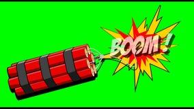 2D Karikaturanimation des Dynamitexplosionsbooms auf einem grünen Hintergrund Bewegungen stock footage