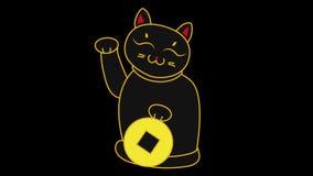 2d Karikaturjapan-Katze maneki neko, das eine Münze hält und eine Tatze, Video der Schleife 4k des guten Glücks wünschend wellena stock footage