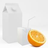 3D kartondoos met oranje fruit het 3d teruggeven Stock Foto