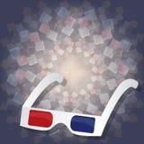 3d kartonglazen voor het letten van op films op 3d achtergrond Royalty-vrije Stock Foto
