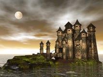 3D kasteel - geef terug Stock Fotografie