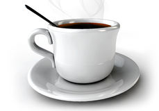 3d Kawowa nakrętka na stole na wihte tle Obraz Stock