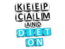 3D Keep Calm And Diet On Button Click Here Block Text Royalty Free Stock Images