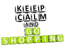 3D Keep Calm And Go Shopping Button Click Here Block Text Royalty Free Stock Images