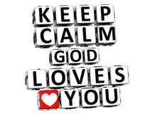 3D Keep Calm God Loves You Button Click Here Block Text. Over white background Stock Image