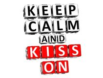 3D Keep Calm And Kiss On Button Click Here Block Text Royalty Free Stock Photos