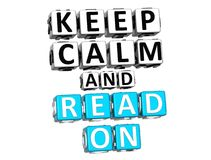 3D Keep Calm And Read On Button Click Here Block Text Royalty Free Stock Photography