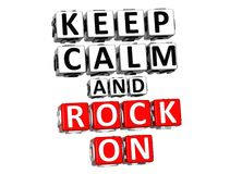 3D Keep Calm And Rock On Button Click Here Block Text Stock Images