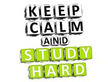 3D Keep Calm And Study Hard Button Click Here Block Text Stock Image