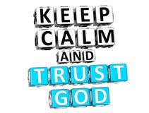 3D Keep Calm And Trust God Button Click Here Block Text stock illustration