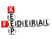 3D Keep Federal text Crossword. On white background Stock Images
