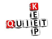 3D Keep Quiet Crossword Stock Photos