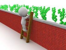 3D Mens die Ladder beklimmen om aan geld over muur te krijgen Stock Foto's