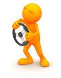 3d Kerel: Het beweren om met een Stuurwiel te drijven Stock Fotografie