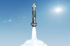 3D Kern-Rocket Launch Lizenzfreie Stockfotos