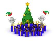3D Kerstboom met Giften en het 3D Karakters Toejuichen Royalty-vrije Stock Afbeeldingen