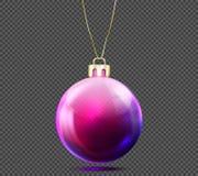 3D Kerstmisbal op achtergrond wordt geïsoleerd die Vector Illustratie