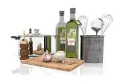 3d - keukenmateriaal Stock Afbeeldingen