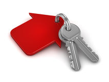 3d key chain with red house Stock Photo