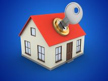 3d key. 3d illustration of generic house over blue background with key Stock Photo