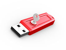 3d key and locked usb flash drive Stock Photo