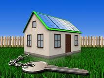 3d key over lawn and fence. 3d illustration of home with solar panel with key over lawn and fence background Stock Photography