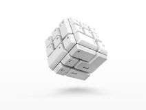 3D keyboard cube. 3D cube shape of keyboard buttons Royalty Free Stock Photography