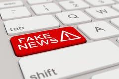 3d - keyboard - fake news - red Stock Image