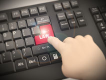 3d keyboard finger pressing law button. 3d rendering of human finger pressing red law key on computer keyboard Royalty Free Stock Photo