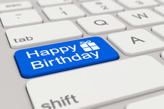 3d - keyboard - happy birthday - blue. 3d rendering of a white keyboard with blue happy birthday button Royalty Free Stock Image