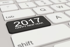 3d - keyboard - 2017 - happy new year - black. 3d rendering of a white keyboard with black 2017 happy new year button Stock Images