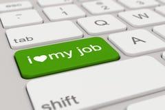 3d - keyboard - i love my job - green Royalty Free Stock Photography