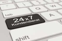 3d - keyboard - Kundendienst - 24 x 7 - black. 3d rendering of a white keyboard with black support button, business concept Stock Image