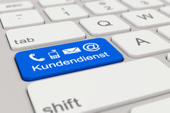 3d - keyboard - Kundendienst - blue Stock Photography