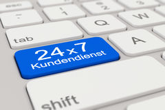 3d - keyboard - Kundendienst - 24 x 7 - blue. 3d rendering of a white keyboard with blue support button, business concept Royalty Free Stock Photos