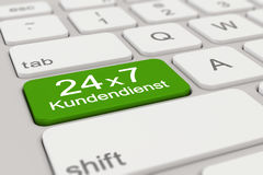 3d - keyboard - Kundendienst - 24 x 7 - green. 3d rendering of a white keyboard with green support button, business concept Stock Image