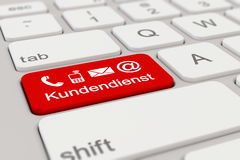 3d - keyboard - Kundendienst - red Royalty Free Stock Photography