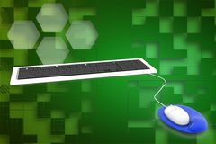 3d keyboard and mouse illustration Stock Image