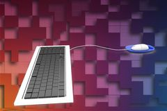 3d keyboard and mouse illustration Royalty Free Stock Photo
