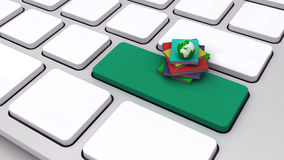 3d keyboard with pile of books Stock Photo