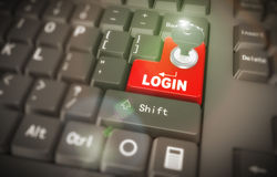 3d keyboard - secured login. 3d rendering of black computer keyboard with red login button having key and lock Stock Photo