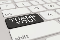 3d - keyboard - thank you - black. 3d rendering of a white keyboard with black thank you button Royalty Free Stock Photography