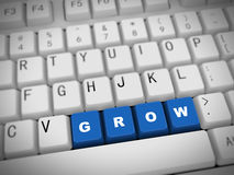 3d keyboard - word grow. 3d rendering of white computer keyboard with blue grow button Royalty Free Stock Photography