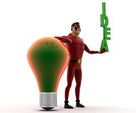 3d kick super hero with bulb and holding IDEA text concept Royalty Free Stock Images