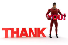 3d kick super hero holding you text of thank you Royalty Free Stock Image